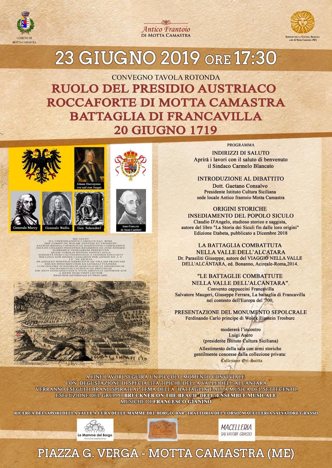 Convegno su Tricentenario Battaglia di Francavilla e ruolo borgo Motta Camastra